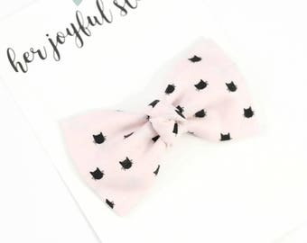 Pink Baby Headband, Cat Bow, Baby Bow, Baby Headband, Headband, Bow Headband, Infant Headband, Pink Bow, Baby Girl,  Pink Meow