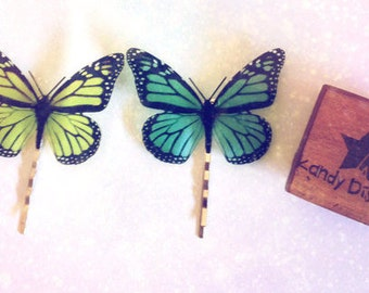 Monarch Butterflies hair pins. Butterfly hair clip set. Sold individually or Set 2 butterflies, Bridal Bridesmaid hair, Butterfly hair piece