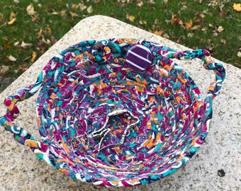 Rope coiled basket -pretty in purple