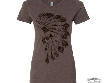Womens Native American HEADDRESS -hand screen printed T Shirt s m l xl xxl (+ Colors Available) custom custom