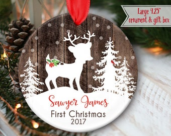 "LARGE 4.25"" Deer Ornament for Babys First Christmas Ornament or Child's Personalized Christmas Ornament, Babys 1st ornament, mdf wood OR975"