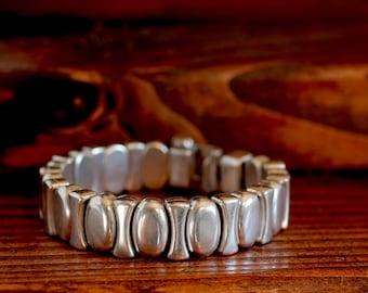 Heavy Metal Silver Bracelet Leather Bracelet Mens Bracelet Mens Bangle Mens Jewelry Heavy Silver Bracelet Gift For Him Jewelry Under 75