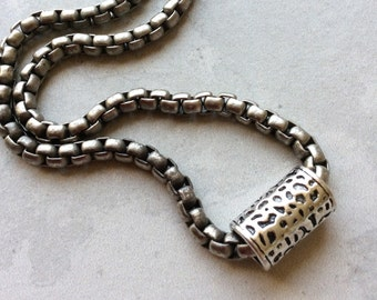 Men's Silver Chain Necklace with Bead