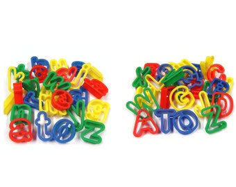 Plastic Uppercase & Lowercase Alphabet Letters Dough Cutters for Kids Baking Set of 52