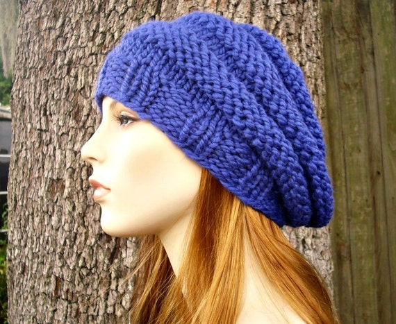 Cobalt Blue Beret Chunky Knit Hat Womens Hat - Original Beehive Beret Blue Hat Blue Beret Blue Beanie Womens Accessories - READY TO SHIP