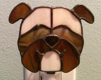 Bulldog Stained Glass Dog Night Light