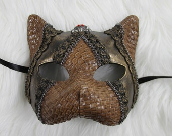 Brown Gold Fenix Styled Steampunk Venetian Cosplay Masquerade Mask