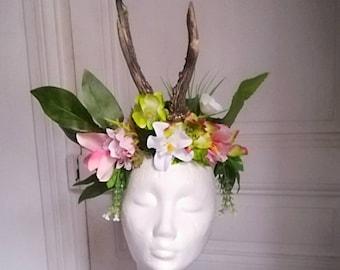 Flower fairy headpiece headdress goddess deer antlers anthers burlesque