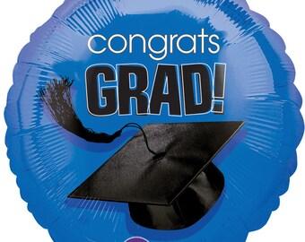 "18"" Blue Congrats Grad Mylar Balloon: Graduation, Seniors, Class Colors, Birthday, Shower, Wedding, College, Dorm, School, Photo Prop, 2018"