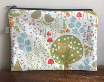 Large woodland zip pouch or pencil case