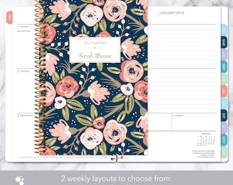 planner 2018 | 2018-2019 weekly planner | calendar student planner add monthly tabs | personalized agenda daytimer | navy pink gold floral