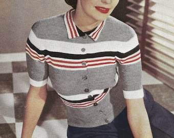 1948 Button Up Jumper Vintage Knitting Pattern 020