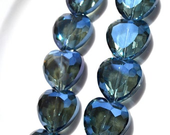 Large Faceted Crystal Midnight Blue Heart Beads    2