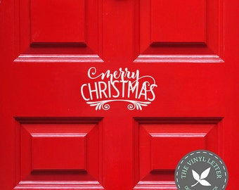 Merry Christmas Door | Scroll Vinyl Sign Wall Home Decor Holiday Decal Sticker