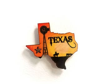 Texas Windmill Wooden Refrigerator Magnet