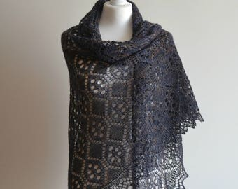 Hand knitted lace shawl graphite wool wrap warm triangular handmade