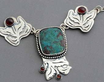 Chrysocolla necklace sterling silver bohemian jewelry unusual leaf necklace natural stone necklace genuine garnet artisan nature jewelry
