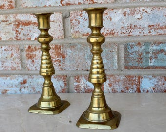Pair of Brass Antique Candle Sticks • England • R9223580