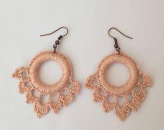 Crocheted earrings, Knitted earrings, beige earrings. Romantic style.