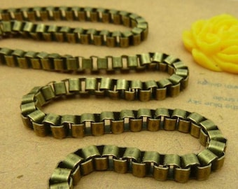 32feet  3x3mm Antique Bronze Plated Brass Square Chains E1036