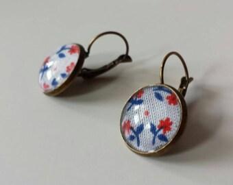 Dangle earrings fabric floral