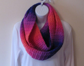 Womens Crochet Infinity Scarf, Purple Blue Pink Orange Infinity Scarf, Teen Infinity Scarf, Crochet Circle Scarf, Crochet Neckwarmer