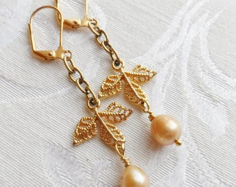 50% Off Freshwater Pearl Earrings, Golden Beige