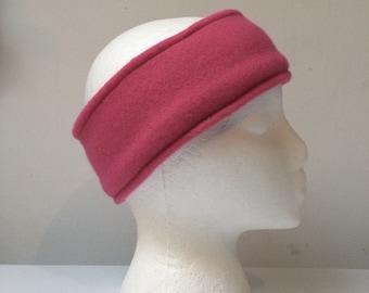 Dark Pink Fleece ear warmer, fleece headband, pink headband
