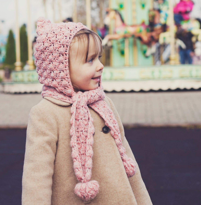 Crochet hat PATTERN Pom-pom scarf with hoodie sizes baby to