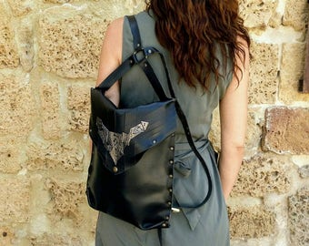 laptop/bag/leather/MacBook Pro 13/backpack/black/leather/MacPro13