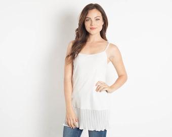 Ivory Chiffon Shirt Extender Camisole Bohemian Separates