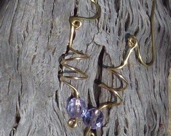 Color changing light blue/violet drop earrings on brass wire