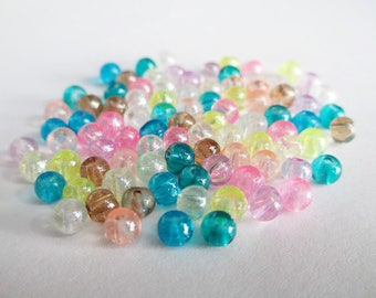 90 shiny glass beads mix color 4mm