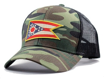 Homeland Tees Ohio Flag Hat - Army Camo Trucker