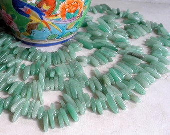 Green Aventurine Stick Beads Pebble Pendant Gemstone Beads For Jewelry Making