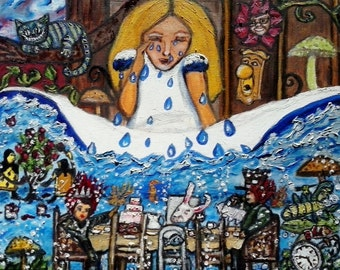 Alice Crying, Original oil painting print, original art, PaintingByAnnette