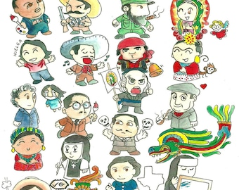 """11"""" by 14"""" Chibi Chicano ABC, Reproduction of Original Watercolor Artwork and Design"""