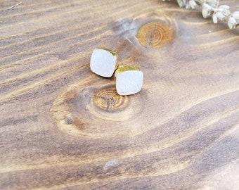 Natural druzy agate earrings, agate earrings, white druzy, natural gemstone, gold earrings, agate earrings, natural stone earrings square