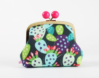 Metal frame clutch bag - Cacti on ink blue - Color bobble purse / Solnca Lych for Spoonflower / Cactus / Green pink red purple blue