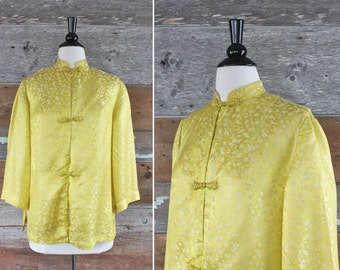 1960s Chinese yellow silk blouse | size l - xl