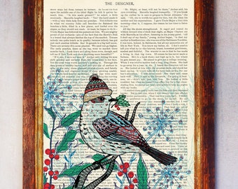 Bird with winter Hat standing on a branch, Art Print, Bird Wall Art, Book Art Bird Print, Animal Print, Bird Artwork, Bird Poster