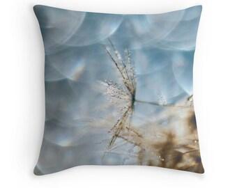 Dandelion Pillow, Garden Decor, Dandelion Cushion, Gift for Gardeners, Water Drop Cushion, Serenity Blue, Macro Photography,Abstract Cushion