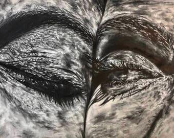 art, fine art, graphite, illustration, eyes, couple