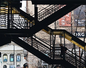 Stairs/mass transit photo/Downtown Chicago summer/Chicago skyline photography