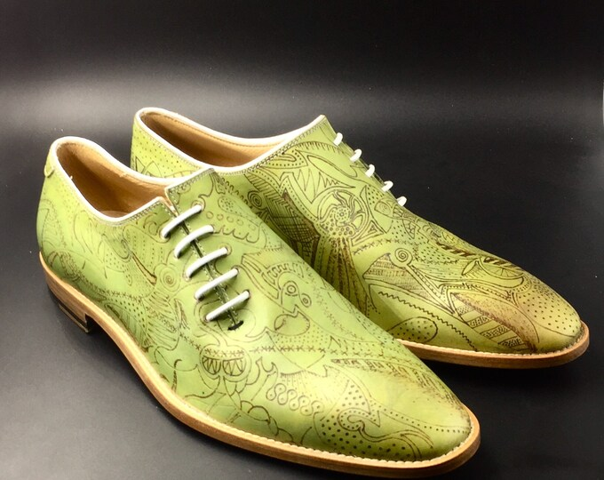 Featured listing image: Leather men shoes, olive green, pyrograph, Oxford, hand painted, made in Italy