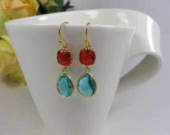 Ruby and Aqua blue crystals earrings, Ruby red and blue earrings, Siam gold Aqua blue earrings,wedding jewelry Christmas Gift for Her