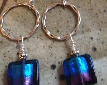 Dark blue and purple glass beads and silver hoop handmade earrings, bohemian earrings