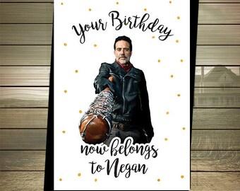 The Walking Dead Birthday Card - Negan - Happy Birthday - Negan Birthday Card - The Walking Dead Card - DIGITAL DOWNLOAD
