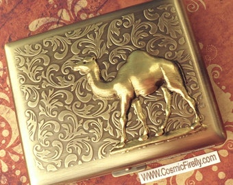 Big Size Brass Camel Cigarette Case Extra Large Antiqued Brass Tone Metal Wallet Gothic Victorian Steampunk Case Vintage Style New