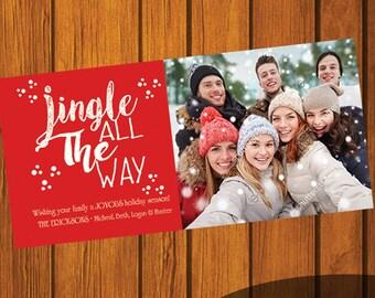Christmas Card / Photo Christmas Card / Custom Photo Christmas Card / Holiday Card / Photo Greeting Card / Jingle all the way / 4x9